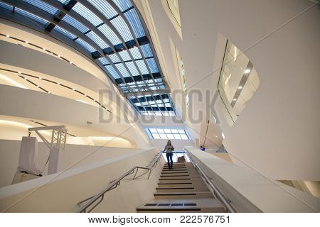 VIENNA, AUSTRIA - JANUARY 15, 2018: Library and Learning Center by Zaha Hadid Of Vienna University of Economics and Business (Wirtschaftsuniversitat Wien) is the largest Business University in Europe.