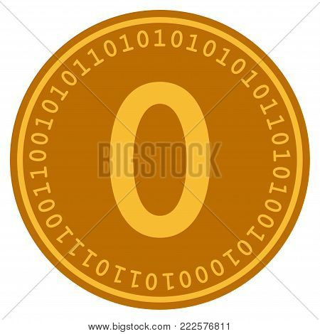 Zero Digital Coin vector icon. Style is flat graphic symbol.