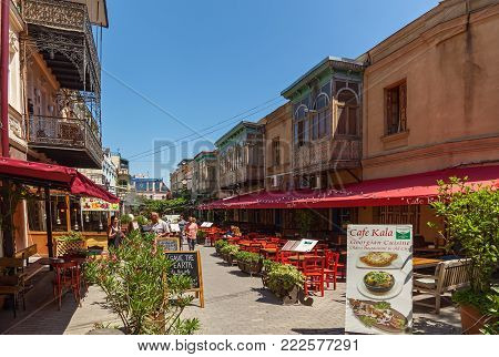 Georgia Tbilisi June 17, 2017: Cozy restaurants and bars, the best place for rest and taste of local cuisine with Georgian wine in Tbilisi. Restaurants and bars in Tbilisi.