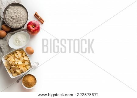 ingredients for Charlotte on a white background