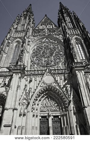 Vertical towering spires of Gothic architecture of Saint Vitus Cathedral In Prague.