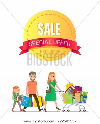 Sale special offer exclusive discount promo poster with people shopping. Parents and children vector illustration of happy family carrying trolley