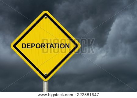 Deportation Warning Sign, Yellow warning road sign with word Deportation with stormy sky background 3D Illustration