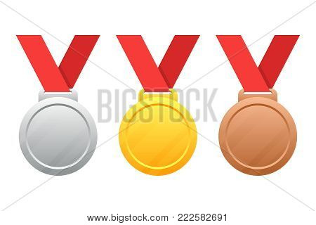 Gold, silver, bronze medals vector illustration isolated on white background