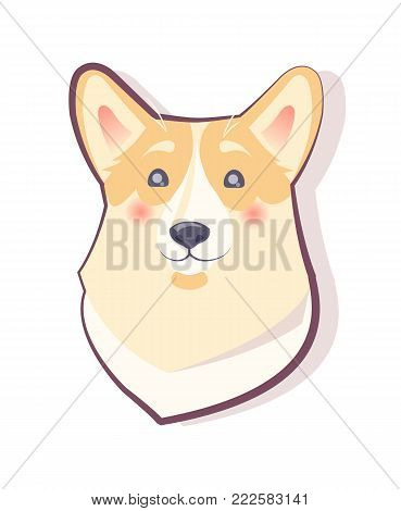 Dog emoticon, shy puppy with glowing red cheeks, icon of symbolic pet of approaching 2018 year, vector illustration isolated on white background