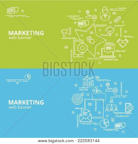 Flat colorful design concept for Marketing. Infographic idea of making creative products. Template for website banner, flyer and poster.