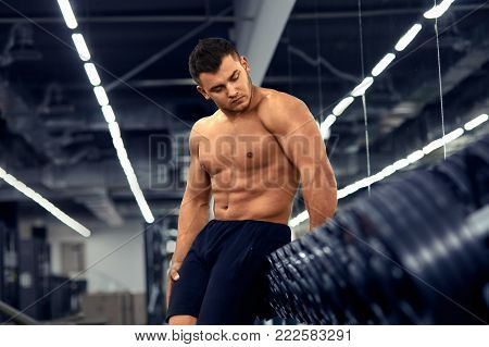 Muscular Bodybuilder Doing Exercises With Dumbbell In Gym.strong Athletic Man Shows Body,abdominal M