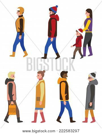 People in warm winter clothes profiles side view icons vector illustration of men and women, kid in Santas hat vector illustration isolated on white