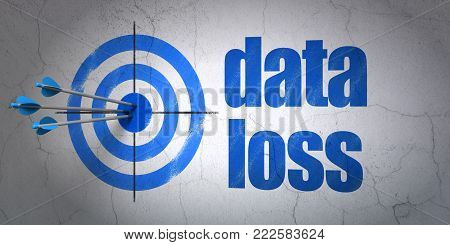 Success Information concept: arrows hitting the center of target, Blue Data Loss on wall background, 3D rendering