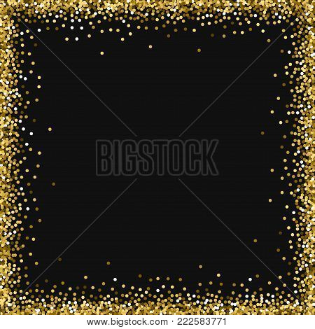 Red Round Gold Glitter. Square Abstract Border With Red Round Gold Glitter On Black Background. Plea