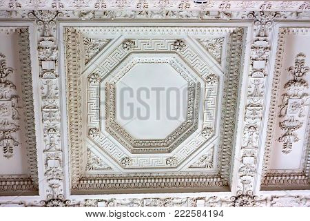 LIVADIA, RUSSIA - MARCH 21, 2011: Close up detail of beautiful decorated ceiling in Livadia Place, Crimea. It is the former southern residence of Russian emperors. It was built in 1911.