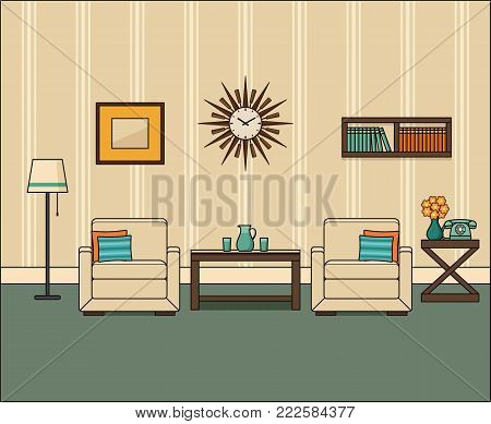 Room interior in flat design. Retro living room in line art. Linear vintage illustration. Vector graphics. Thin line home space with armchairs, telephone and coffee table. House equipment 1960s.