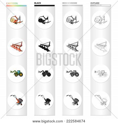 A trolley with a roll of hay, an agricultural plow, a tractor with a grip, a hand-held motoblock. Different types of agricultural machinery set collection icons in cartoon black monochrome outline style vector symbol stock isometric illustration .