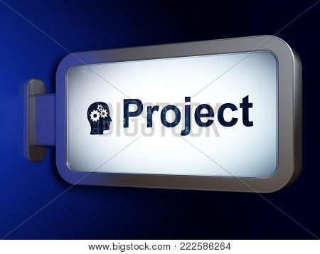 Finance concept: Project and Head With Gears on advertising billboard background, 3D rendering
