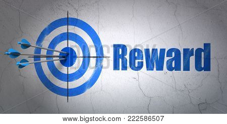 Success finance concept: arrows hitting the center of target, Blue Reward on wall background, 3D rendering