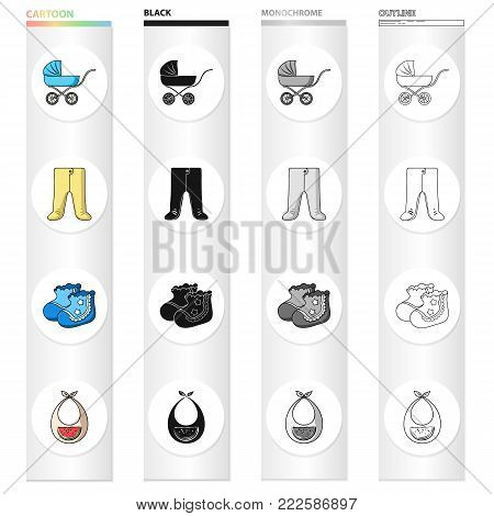 Baby carriage, pantyhose, children's booties, breast bib. Baby care set collection icons in cartoon black monochrome outline style vector symbol stock illustration .