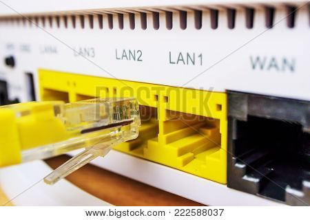 connected lan cable, home Internet access, easy connection, yellow cable