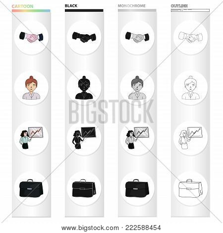 A handshake at a transaction, a business lady, a speaker at a conference, a briefcase with documents. Business conference set collection icons in cartoon black monochrome outline style vector symbol stock illustration .