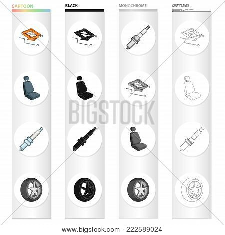 A jack and a wheel key, a car seat, an electric candle, an automobile wheel. Car and accessories set collection icons in cartoon black monochrome outline style vector symbol stock Isometric illustration .