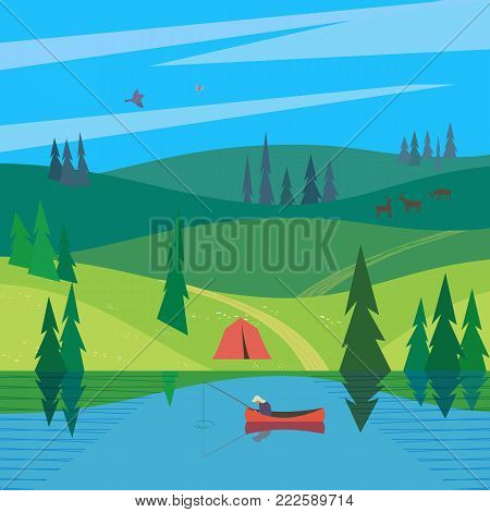 Green valley landscape. Colorful cartoon outood leisure. Summer season weekend vacation outside city. Fisherman fishing on calm river water. Woodland lake. Vector countryside background illustration