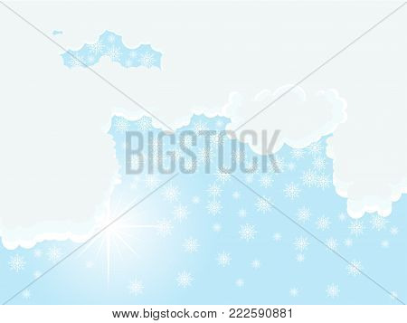 Dramatic white clouds, sun and snowflakes - vector