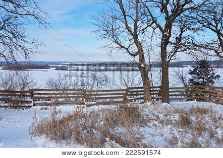 overlooking frozen mississippi river along schaars bluff trail in spring lake park hastings minnesota