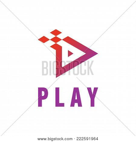 Play Icon Video And Music Application Button Design. Creative Template Logo Movie Element In Purple Blue Isolated On White Backround Vector Illustration