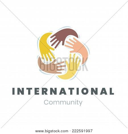 Community Logo International Communication Friendship Unity And Diversity Concept Template Emblem Diverse Hands Hugging Vector Illustration