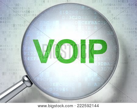 Web design concept: magnifying optical glass with words VOIP on digital background, 3D rendering