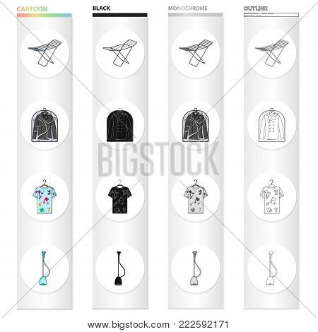 Drying device, dry-cleaning jacket, dirty T-shirt, vacuum cleaner. Dry Cleaning set collection icons in cartoon black monochrome outline style vector symbol stock Isometric illustration .