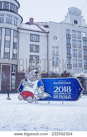 Kaliningrad , Russia-January 17, 2018: the logo of the world Cup. FIFA 2018 in Russia