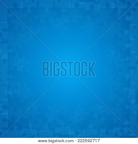 Blue Transparent Puzzles Pieces - Vector Illustration. Scattered Jigsaw Puzzle Blank Template. Vector Background.