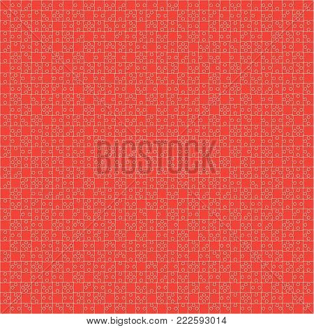 900 Red Material Design Pieces Arranged in a Square - JigSaw. Jigsaw Puzzle Blank Template.