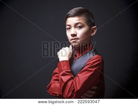 Self assured boy in portrait wearing a nice suit vest with a tie.