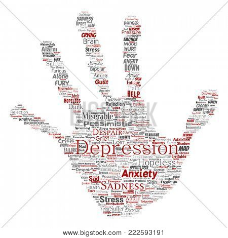 Conceptual depression or mental emotional disorder problem hand print stamp word cloud isolated background. Collage of anxiety sadness, negative sad, despair, unhappy, frustration symptom