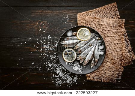 Raw Fresh Fish On A Silver Platter With Ice