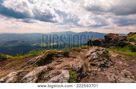 view from a cliff in to the valley. gorgeous landscape of Carpathian mountains