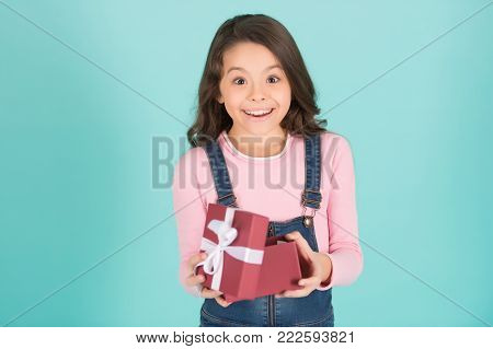 Girl Child With Surprised Happy Face Open Gift Box