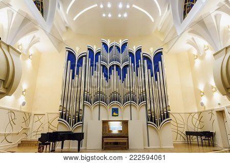 Belgorod, Russia - Circa January 2018: Pipe organ at Organ Hall of the Belgorod Philharmonic Society