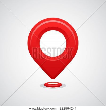 Red map pin pointer location vector icon. GPS navigation.