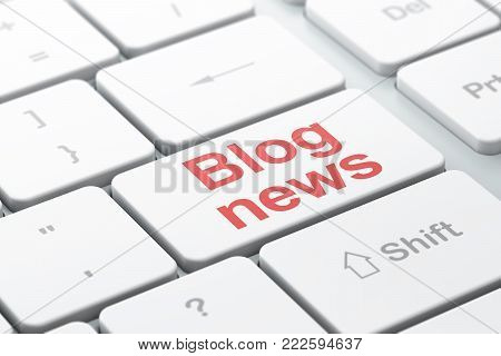 News concept: computer keyboard with word Blog News, selected focus on enter button background, 3D rendering