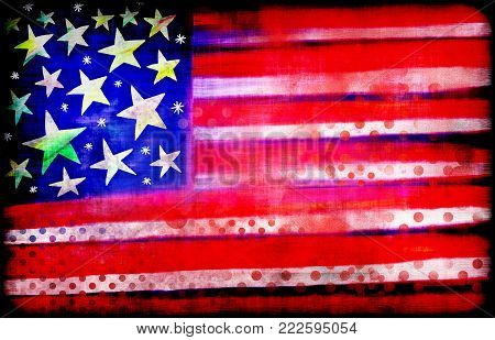 A digitally created grunge flag of the United States of America.
