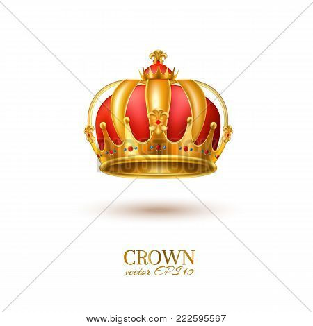 Golden crown realistic vector luxury VIP jewelry with gems. 3d royal queen monarch king emperor decoration symbol. Isolated illustration white background. Success, authority business leadership emblem