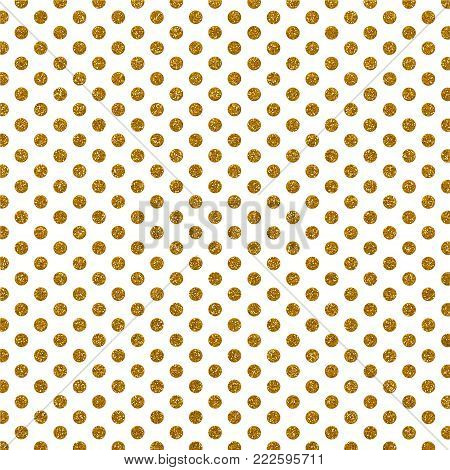 A digitally created metallic glitter polka dot background design.
