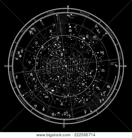 Astrological Celestial map of Northern Hemisphere. Horoscope on January 1, 2018 (00:00 GMT). Detailed outline chart with symbols and signs of Zodiac, planets, asteroids & etc. poster