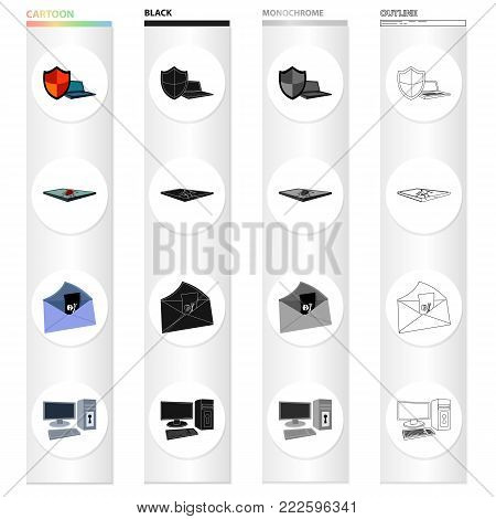 Shield for computer, virus and tablet, hacking of mail, computer equipment on the lock. Hacker and hacking set collection icons in cartoon black monochrome outline style vector symbol stock illustration .