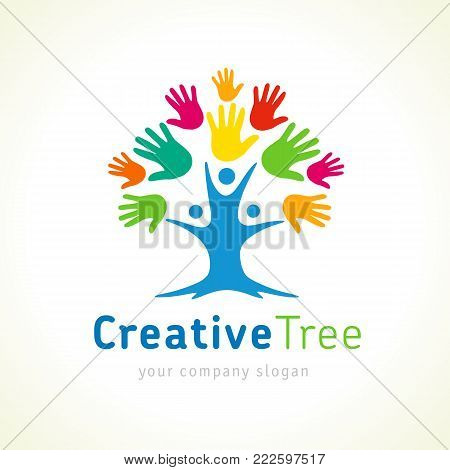 Creative tree colored hands logo template. People tree unity emblem for kids education. Family care tree vector design illustration