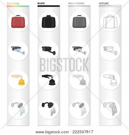 Suitcase, video surveillance in the hotel, call at the reception, watering can shower.Hotel set collection icons in cartoon black monochrome outline style vector symbol stock illustration .