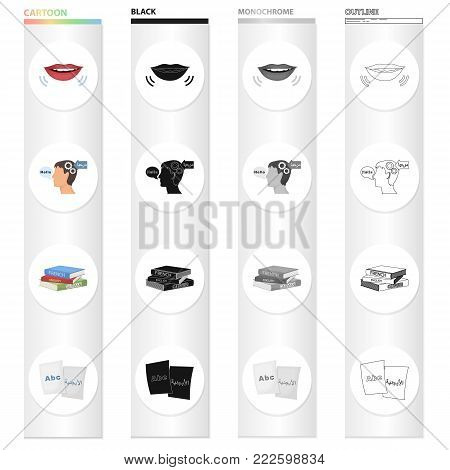 Read on the lips, a translation in the head of a man, different dictionaries, pist paper with an inscription. Interpreter set collection icons in cartoon black monochrome outline style vector symbol stock illustration .