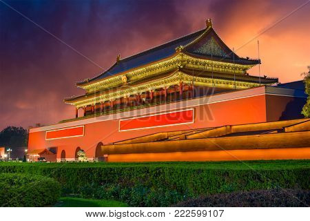 Beijing, China at Tiananmen Gate in Tiananmen Square.